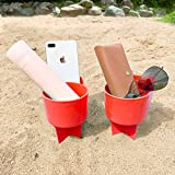 Home Queen Beach Cup Holder with Pocket, Multi-Functional Sand Cup Holder for Beverage Phone Sunglasses Key, Beach Accessory Drink Sand Coaster, 2-Pack, Orange