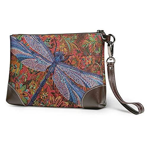 MGBWAPS Libélula abstracta flor embrague, bolso de embrague de cuero, bolso cosmético, bolso de embrague pulseras, (Como se muestra), Talla única