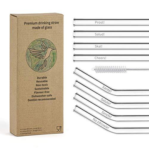 HuMaVi - Strohhalm Set - CHEERS Edition - 8 x Glasstrohhalme mit Gravur - Spülmaschinenfest - Frei von BPA und Plastik; Glastrinkhalme für verschiedene Gläser - Nachhaltiger Trinkhalm