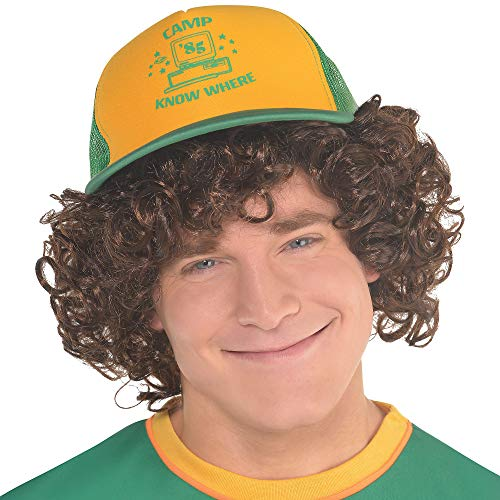 Party City Stranger Things Dustin Baseball Hat for Adults, One Size, Features Camp Know Where Headline in Green/Yellow