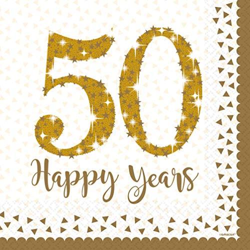 amscan 9902212 16 Servietten 50 Golden Anniversaries, Weiß/Golg