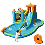 BOUNTECH Inflatable Water Slide Park, 8 in 1 Bounce House w/ Large Splash Pool, Long Slide, Jumping Area, Climbing Wall, Water Cannons, Ocean Balls, Including Repairing Kit, Stakes (with Air Blower)