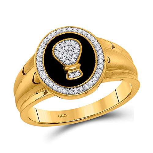The Diamond Deal - Hucha redonda de oro amarillo de 10 quilates para hombre con diamantes de imitación, anillo de moda de 1/6 quilates