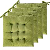 4 Pack Seat Cushion / Chair Cushion Pads for Dining Chairs, Office Chair, Car, Floor, Outdoor, Patio,Machine Wash & Dryer Friendly (Flannel 16'×16', Olive Green)