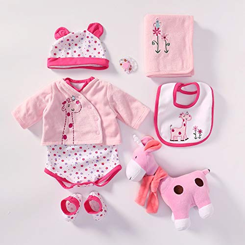 Pinky Reborn Baby Dolls Clothes for 20-23 Inch Reborn Doll Baby Girl Clothing Outfit Accessories(22 Pink Giraffe)
