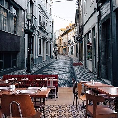 Wuyyii Fotobehang Europa Italiaanse Straat Landschap Aangepaste muurschildering Restaurant Lounge Corridor Achtergrond Behang 120x100cm