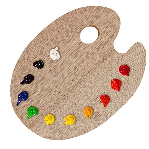 """U.S. Art Supply 12"""" x 16"""" Extra Large Wooden Oval-Shaped Artist Painting Palette with Thumb Hole - Wood Paint Color Mixing Tray - Easy Clean, Mix Acrylic, Oil, Watercolor - Adults, Kids, Art Students"""