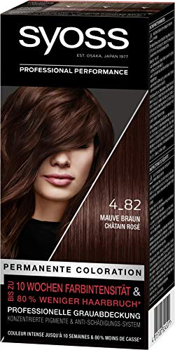 Syoss Coloration Stufe 3 4_82 Mauve Braun, bis zu 10 Wochen Farbintensität, 3er Pack(3 x 115 ml)