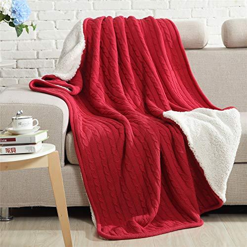 Couverture tricotée en coton doublé avec doublure Sherpa super douce et chaude pour lit, canapé, comptoir, rose rouge, 150 x 200 cm
