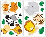 Samunshi® 14-teiliges Dschungeltiere Wandtattoo Set Löwe Giraffe AFFE Kinderzimmer Babyzimmer in 5 Größen (2x16x26cm Mehrfarbig)
