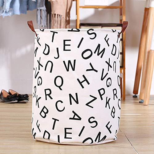 ZXXFR Opvouwbare wasmand, witte Engelse letters huishouden, inklapbare wasmand, opberger, kleding, opslag, schop, wasservies, organizer, houder, tas, wassen, winkelmand, badkamer product