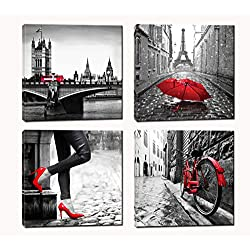 Paris Decor - Eiffel Tower Painting for Bedroom - Gray and Red Canvas Wall Art - Ready to Hang for Livingroom Office (gray and red)
