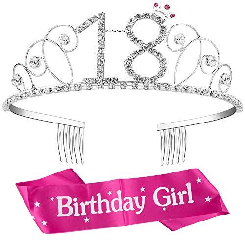 ZWOOS Couronne Anniversaire 18 Ans, Couronne d'anniversaire en Cristaux Strass de Princesse Bandeau Cristal Tiara avec Ceinture d'anniversaire