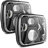 Auxbeam 5x7 7x6 Inch Led Headlights with High Low Beam H6054 6054 Led Rectangular Headlight Compatible for Jeep Wrangler YJ Cherokee XJ GMC Replacement H5054 H6054LL 69822 6052 6053 (Black)