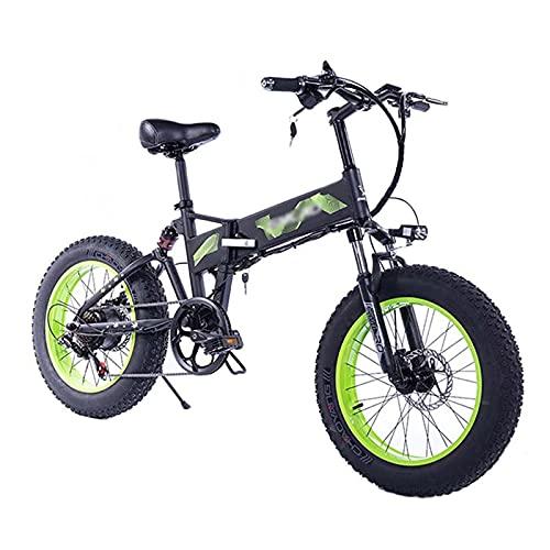 ZWHDS Bicicleta eléctrica - 20 Pulgadas de neumáticos para Adultos Plegable Grasa Carretera E-Bici 8AH Batería de Litio 35 0W 36V Motor de tracción Trasera (Color : Green)