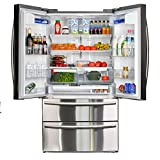 Smad French Door Refrigerator 20.7 cu.ft Large Refrigerator Bottom Freezer For Home Kitchen Restaurant, Cabinet Depth, Stainless Steel