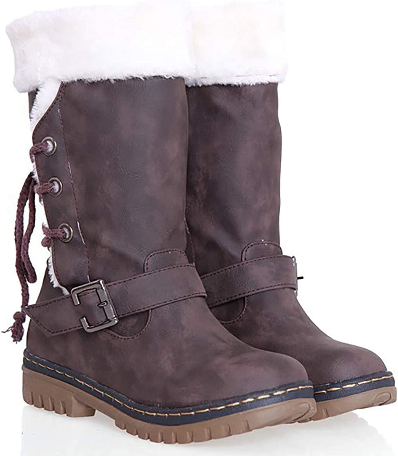 Pevor Women's Winter Outdoor shoes Faux Leather Woolen Lining Lace Up Mid Calf Riding Warm Snow Suede Boots