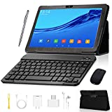 Tablet 10 inch, Android 9.0 GO Edition Tablets with Wireless Keyboard Case and Mouse, 3GB RAM 32GB ROM, Quad Core Processor, IPS FHD Display, 8MP Dual Camera, 3G SIM, WiFi, GMS Certified - Gray
