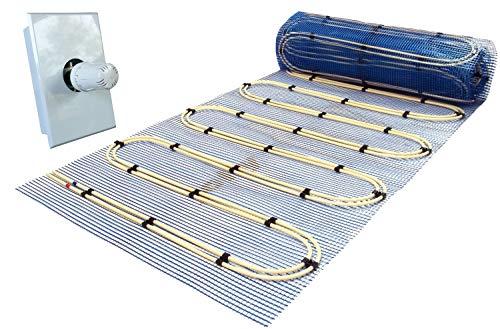 Jollytherm Aquaheat Doppelrohr Warmwasser Fußbodenheizung   Set mit Heizmatte und Regelbox RTL, Heizfläche:10.00m²