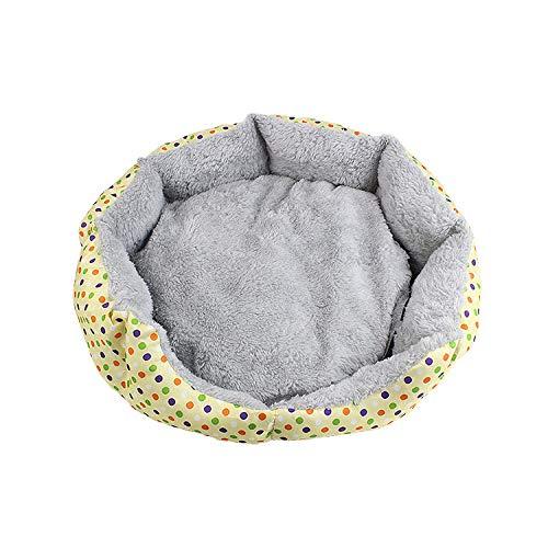 XZHH kattenbed, voor de winter, warm, wasbaar, afneembaar, van katoen, velours, nestje, 48x48x13cm, beige