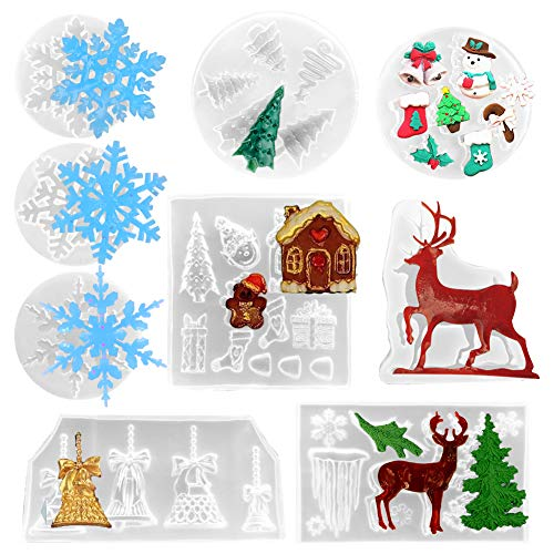 9 Pack Christmas Resin Casting Molds, Silicone Christmas Theme 3D Pendant Epoxy Resin Molds Including Snowflake, Tree, Elk, Bell for DIY Jewelry Making, Christmas Craft Supplies, Home Decoration