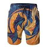 YUJINKANG Pantalones Cortos de Playa para Hombre Yin and Yang Pisces Fish, bañadores de baño, Pantalones Casuales de Gimnasio con Bolsillo