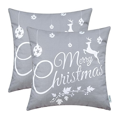 CaliTime Pack of 2 Soft Canvas Throw Pillow Covers Cases for Couch Sofa Home Decoration Merry Christmas White Reindeer 20 X 20 Inches Gray
