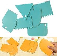 Walmeck 6 Pcs/Set Cake Scraper Edge Decorating Cutters Set Comb & Icing Smoother for Bread Dough Fondant Tool