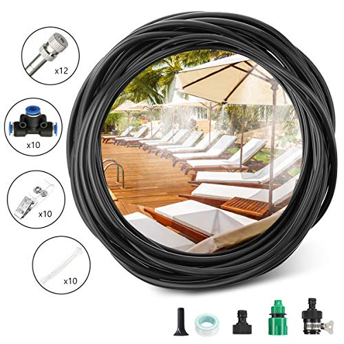 PATHONOR Misting Cooling System 32.8ft (10M) 4/7'' Tubing + 12 Misting Nozzle Outdoor Cooling System for Patio Garden Lawn Swimming Pool Umbrella Trampoline