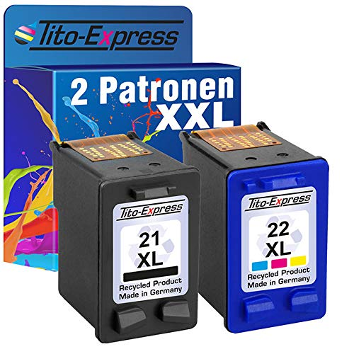 Tito-Express PlatinumSerie Set 2X Druckerpatrone für HP-21 XL & HP-22 XL PSC 1410 F4140 F4150 F4172 F4175 F4180 F4185 F4190 F4194