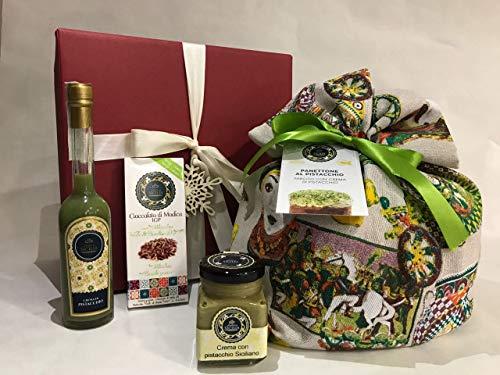 Confezione Natalizia Panettone artigianale al Pistacchio + Liquore 10 cl. al Pistacchio + Cioccolata...