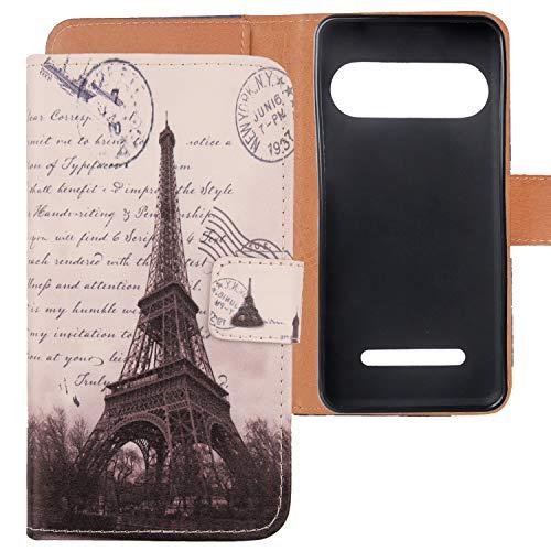 Lankashi PU Flip Leder Tasche Hülle Hülle Cover Handytasche Schutzhülle Etui Skin Für Doro 8035 (Stamp Tower Design)