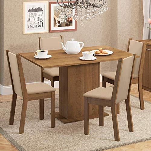 Sala de Jantar Talita Mesa com 4 Cadeiras - Rústico/Crema/Pérola