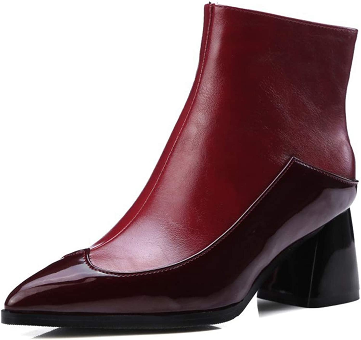 GIY Women's Pointed Toe Western Ankle Boots Fashion Block Heel Side Zip Chelsea Booties Martin Short Boot