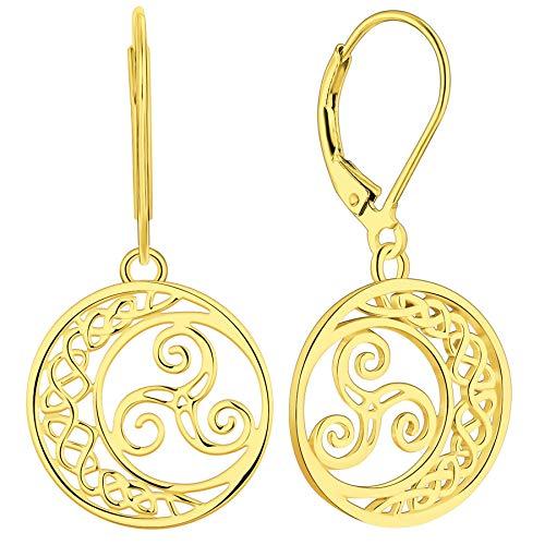 YL Celtic Knot Earrings 925 Sterling Silver Triskele Dangle Drop Earrings 18k Gold Triskelion Moon Leverback Jewelry for Women