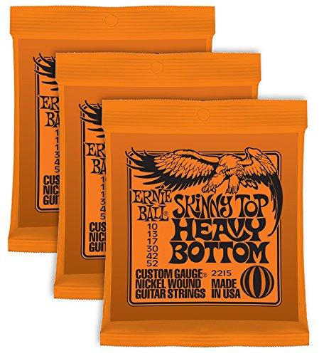 Cuerdas para guitarra Ernie Ball Skinny Top Heavy set enrollado de níquel,010a,052; paquete de 3sets.