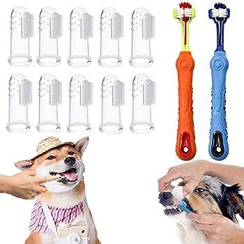 Brosse à dents pour chien 2 pièces, brosse à dents 10 doigts pour animaux de compagnie, silicone de nettoyage des dents pour animaux de compagnie, soins bucco-dentaires faciles pour chiens et chats