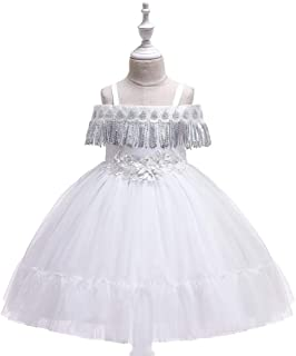 SEASHORE Princess Dress Girl Bow Princess Dress lace Wedding Party Performance Piano Costume 4-12 Years Old (Color : White, Size : 4-5T)