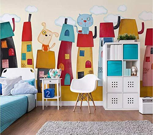 SKTYEE Foto 3D Wandbild Kinderhäuschen farbig handbemalt TV-Hintergrundwand, 300x210 cm