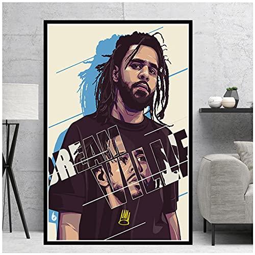 Xiangll Kendrick Lamar 2Pac Tupac J Cole Travis Scoot Rapper Stars Póster Impreso Imágenes De Arte De Pared Para Sala De Estar Decoración Del Hogar Impresión En Lienzo-50X70Cm Sin Marco