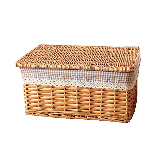 """ZYER Natural Wicker Storage Basket Multipurpose Container with Lid Home Storage Bins for Shelves Rectangular Hand-Woven Basket with Liner,15"""" Lx11 Wx7.8 H"""