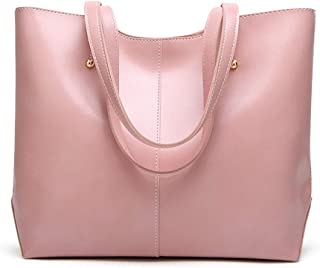 AZALCO Oil Wax PU Leather Tote Women's Handbag Shoulder Bags soft Pink for Daily Work