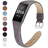 NANW Bands Compatible with Fitbit Charge 4 / Charge 3, Slim Genuine Leather Wristband Replacement Accessories Strap for Women Men Compatible with Fitbit Charge 4 / Charge 3 Small Large