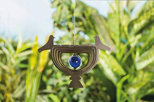 3D en verre véritable Carillon oiseau en acier inoxydable avec boule Décoration de jardin décoration de jardin