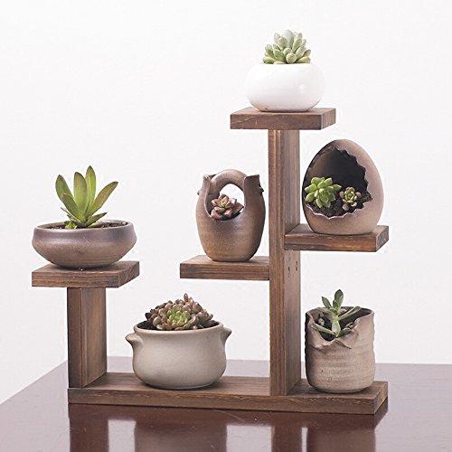 QFF Porte-fleurs en bois massif / pots à fleurs en bois à plusieurs étages bureau balcon intérieur salon étagère à fleurs ( taille : 39.5*10*33cm )