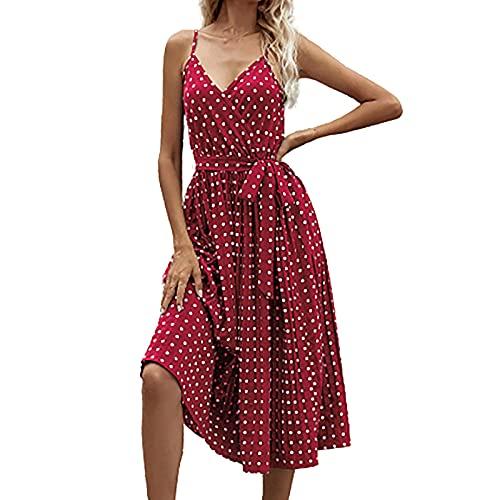 Damenkleid, Midi-Kleid, Chiffon, V-Ausschnitt, elegant, lange Zeremonie, mit Trägern, gepunktet, Plissee-Kleid
