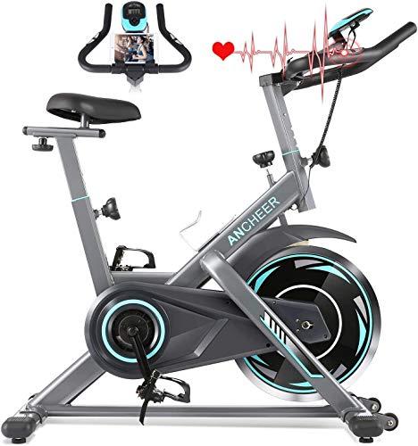 ANCHEER cyclette da casa, Bicicletta per Allenamento Bici da Spinning , Sensore di Impuls, Manubrio e Sella Regolabili, Portata Massima 120 kg (Grigio Volantino di Inerzia 18 kg)