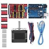 HRNAKDFKL CNC Shield Expansion Board V3.0 + UNO R3 Board + controlador de motor paso a paso A4988 con disipador de calor compatible con Quimat Arduino CNC Shield Kits, rojo y azul