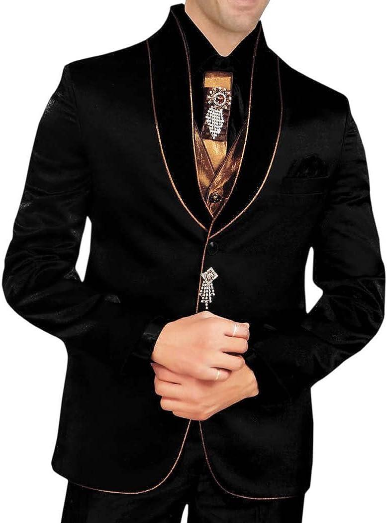 INMONARCH Mens Black 8 pc Tuxedo Suit Designer Formal Wear TX174