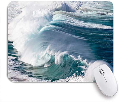 Dekoratives Gaming-Mauspad,Riesige Wop große brechende Ozeanwelle auf hawaiianischer nordblauer Natur Riesiges Design eingehend,Bürocomputer-Mausmatte mit rutschfester Gummibasis
